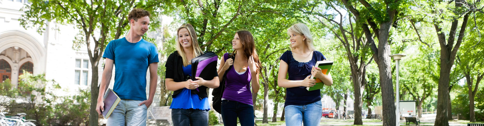 Group of college students walking